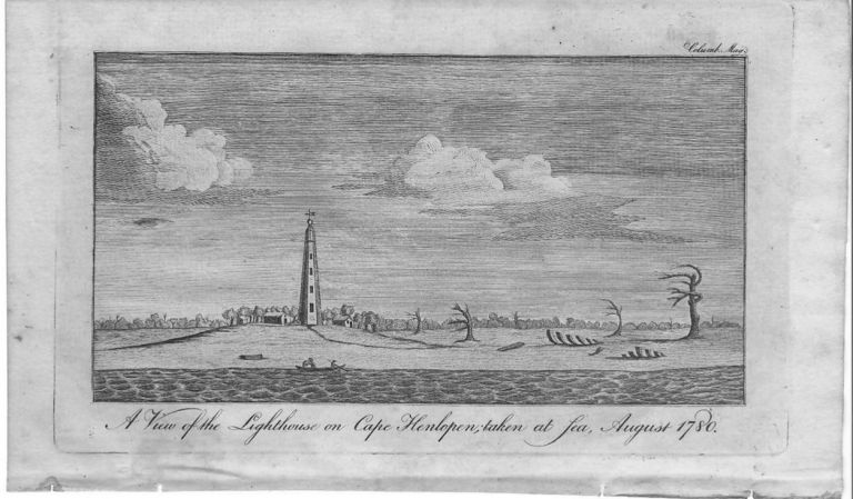 A View of the Lighthouse on Cape Henlopen; taken at Sea, August, 1780. Delaware., Lighthouse.