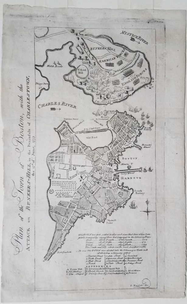 Plan of the Town of Boston, with the Attack on Bunkers Hill in the Peninsula of Charlestown, the 17th June 1775. Boston, Norman.