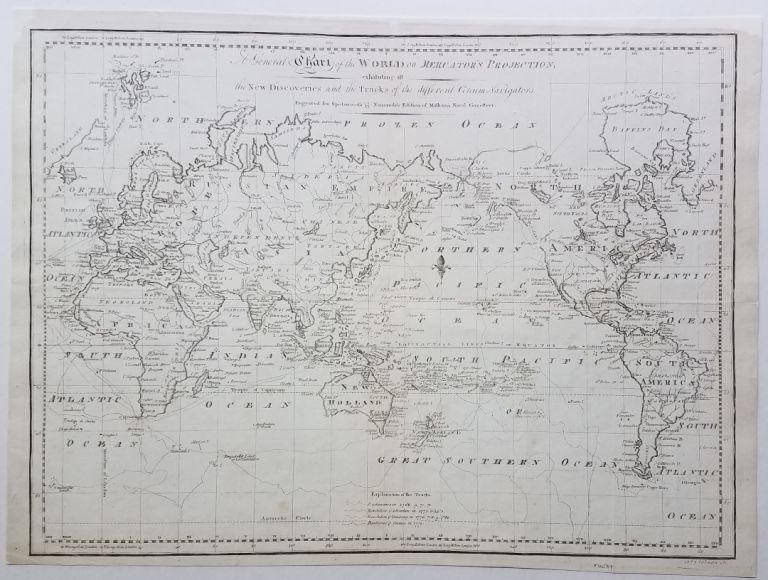 A General Chart of the World on Mercator's Projection, exhibiting all the New Discoveries and the Tracks of the different Circum-Navigators. Map., John Norman, Engraver, World.