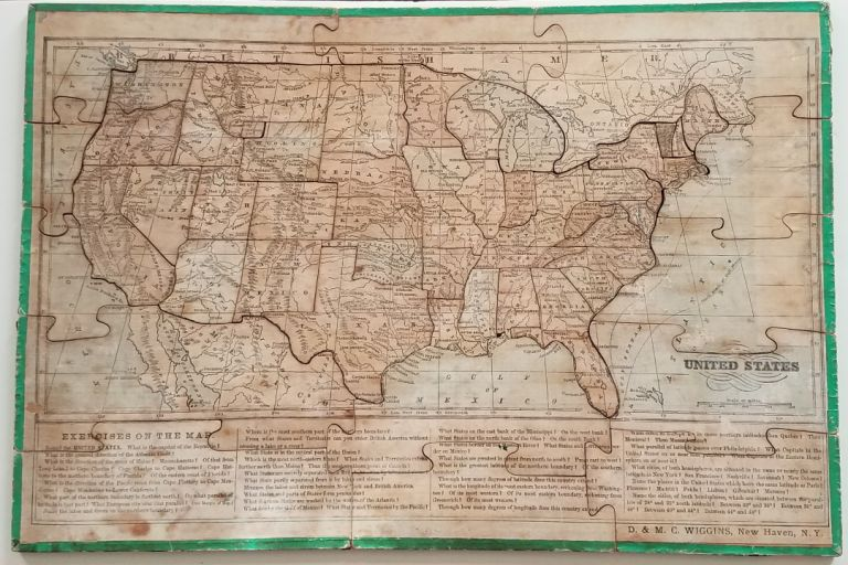 United States. [Title on Box:] The Silent Teacher! Wiggin's Sectional Geography of the United States and World. Dissected Puzzle Map.