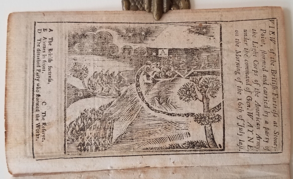 View of the British Fortress at Stoney-Point, Stormed and Carried by a party of the Light Corps of the American Army, under the command of Gen. WAYNE, on the morning of the 16th of July last. American Revolution Battle Plan., for the year of our Redemption Bickerstaff's Boston Almanack, 1780, Plan appearing in.