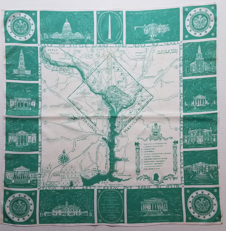 A Map of the District of Columbia and the Surrounding Country. DC. Washington, Mildred G. Burrage, Handkerchief Map.