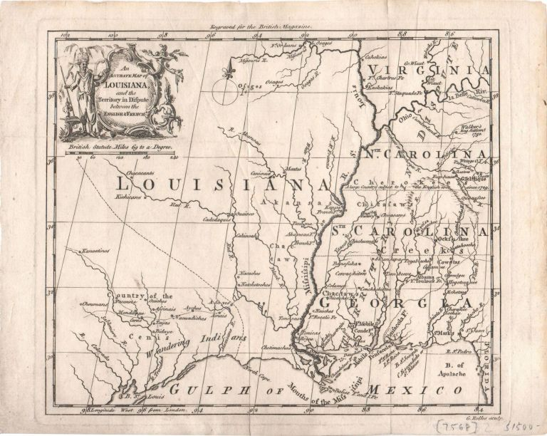 An Accurate Map of Louisiana, and the Territory in Dispute between the English & French. Southeastern U. S., French, Indian War Map.