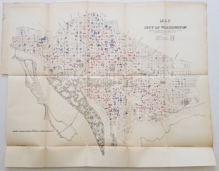 Map of the City of Washington Showing Location of Fatal Cases of Lung Diseases for the Year Ending June 30, 1887 [with] Map of the City of Washington Showing Location of Fatal Cases of Zymotic Diseases for the Year Ending June 30, 1887 [with] Map of the City of Washington, Location of Deaths for the Year ending June 30, 1887. DC. Washington, Disease/Mortality Mapping.