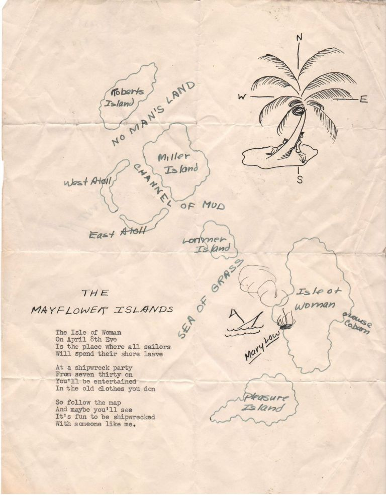 The Mayflower Islands. Manuscript Novelty Map for Shipwreck Party.