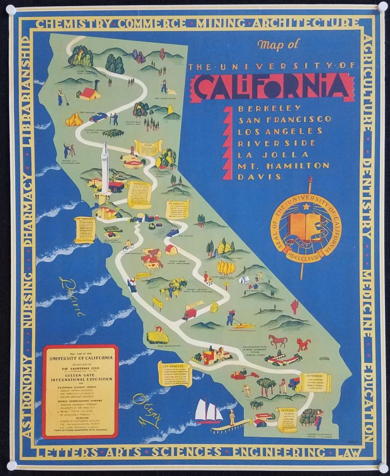 Map of the University of California. California Pictorial Map.