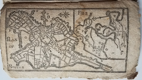 Plan of Boston [appearing in] Bickerstaff's New-England Almanack, for the Year of Our Lord 1776. American Revolution., likely, Boston Map., Benjamin West.