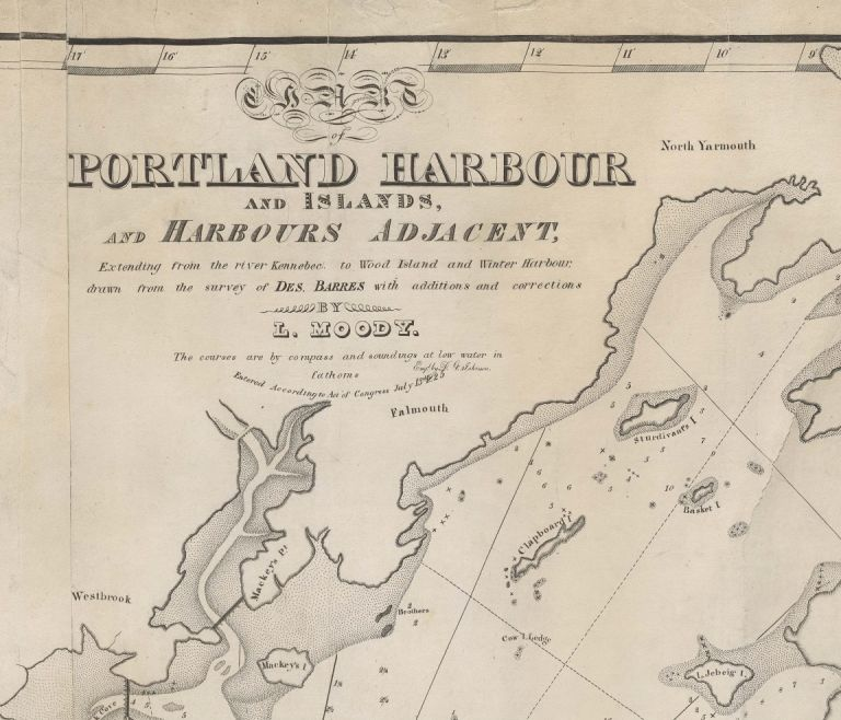 Chart of Portland Harbour and Islands, and Harbours Adjacent, Extending from the River Kennebec to Wood Island and Winter Harbour, Drawn from the Survey of Des Barres with Additions and Corrections by L. Moody. Maine Casco Bay, Lemuel Moody.