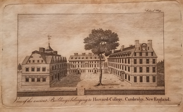 View of the ancient Buildings belonging to Harvard College, Cambridge, New-England. [with] The Columbian Magazine for December, 1788. View: Harvard College, Columbian Magazine.