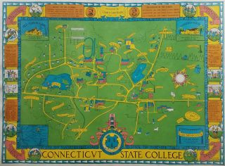 [Pictorial Map of UConn in 1935.] Connecticut State College. University of Connecticut.