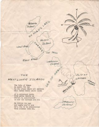 The Mayflower Islands. Manuscript Novelty Map for Shipwreck Party