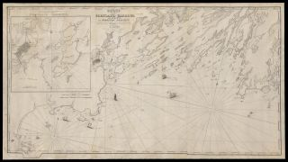 Chart of Portland Harbour and Islands, and Harbours Adjacent, Extending from the River Kennebec to Wood Island and Winter Harbour, Drawn from the Survey of Des Barres with Additions and Corrections by L. Moody.